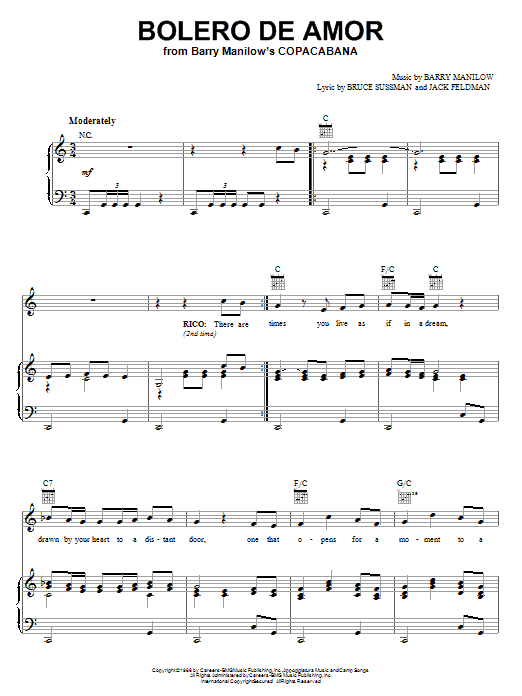Barry Manilow Bolero De Amor sheet music notes printable PDF score