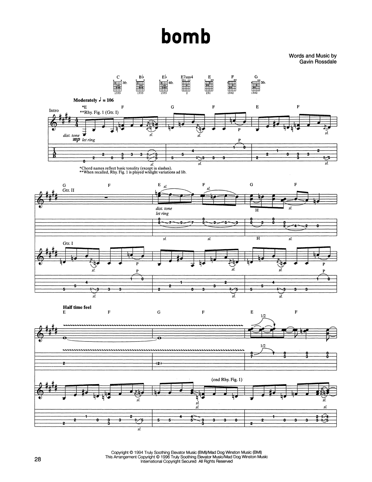 Bush Bomb sheet music notes printable PDF score