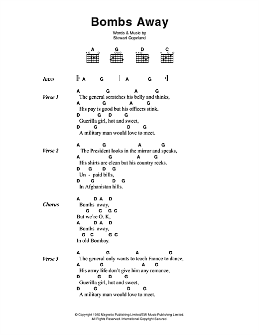 The Police Bombs Away sheet music notes printable PDF score