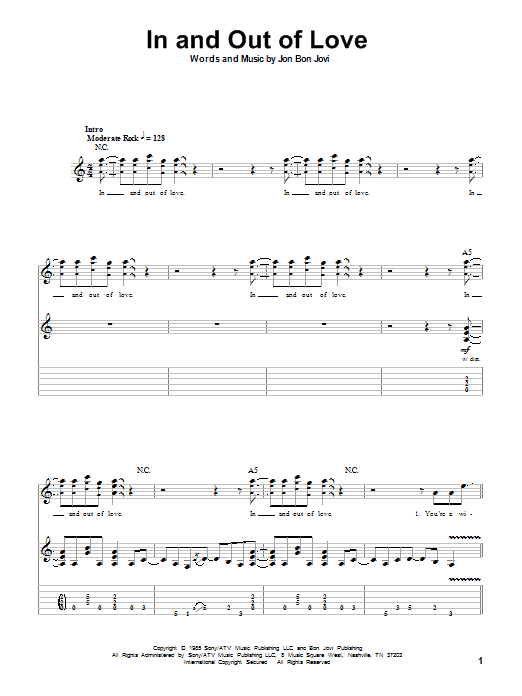 Bon Jovi In And Out Of Love sheet music notes printable PDF score