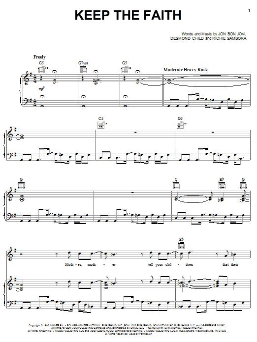 Bon Jovi Keep The Faith sheet music notes printable PDF score