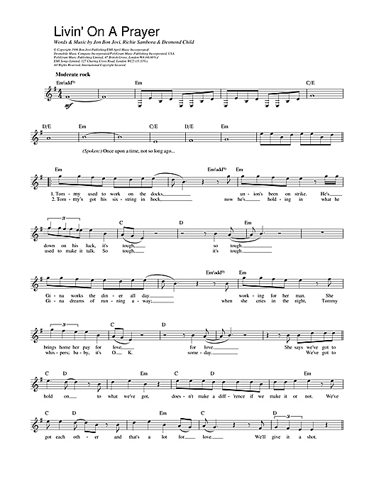 Bon Jovi Livin' On A Prayer sheet music notes and chords. Download Printable PDF.