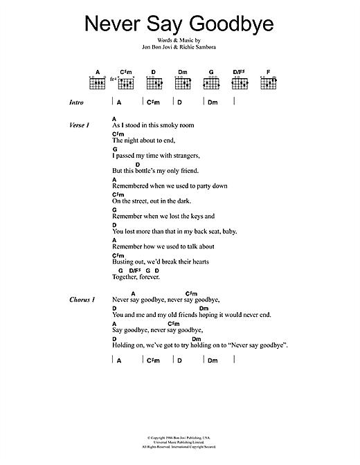 Bon Jovi Never Say Goodbye sheet music notes printable PDF score