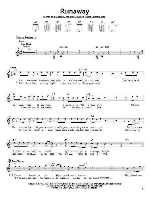 Bon Jovi Runaway sheet music notes printable PDF score