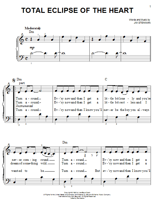 Bonnie Tyler Total Eclipse Of The Heart sheet music notes and chords. Download Printable PDF.