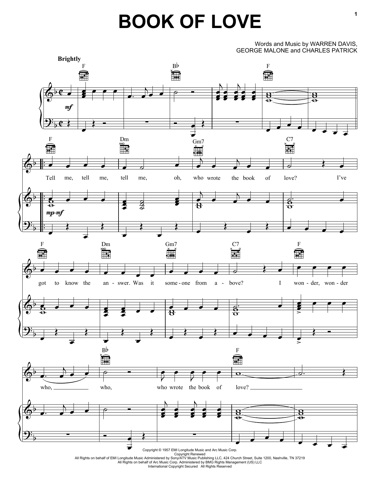 The Monotones Book Of Love sheet music notes printable PDF score