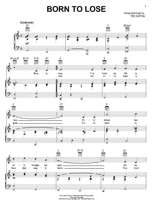 Ray Charles Born To Lose sheet music notes printable PDF score