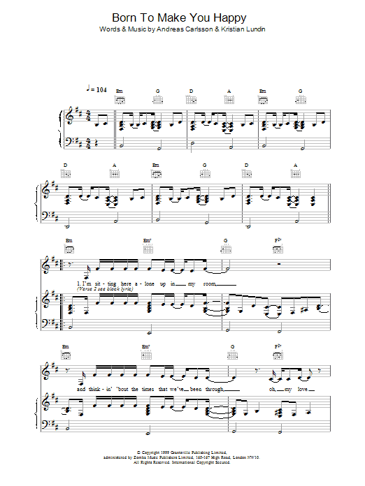 Britney Spears Born To Make You Happy sheet music notes printable PDF score