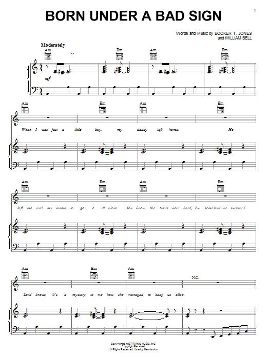 Albert King Born Under A Bad Sign sheet music notes printable PDF score