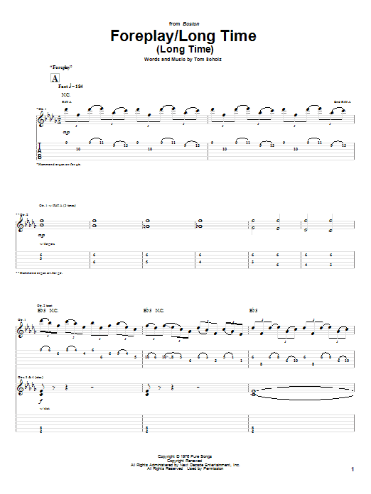 Boston Foreplay/Long Time (Long Time) sheet music notes and chords. Download Printable PDF.