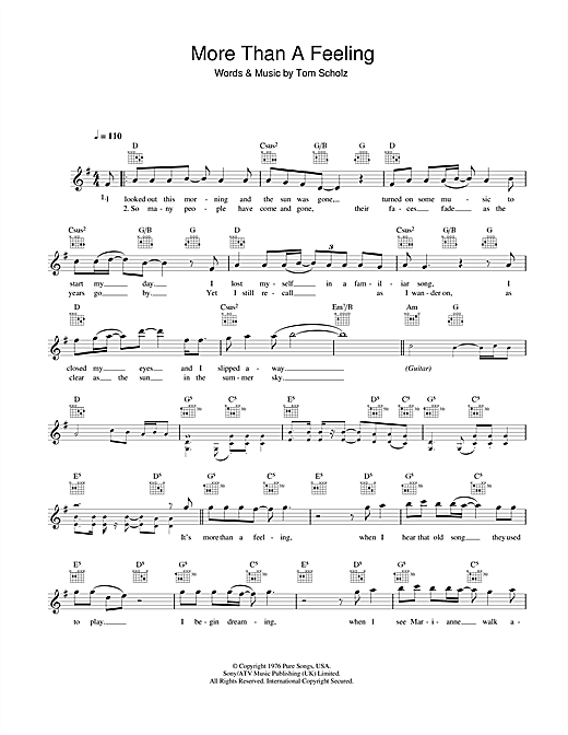 Boston More Than A Feeling sheet music notes and chords. Download Printable PDF.