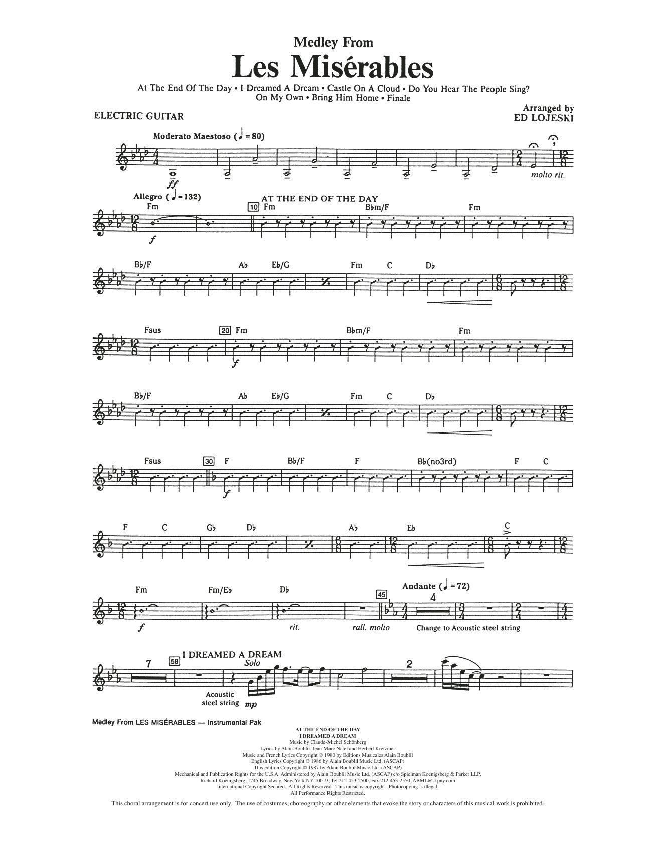 Boublil and Schonberg Les Miserables (Choral Medley) (arr. Ed Lojeski) - Electric Guitar sheet music notes and chords. Download Printable PDF.