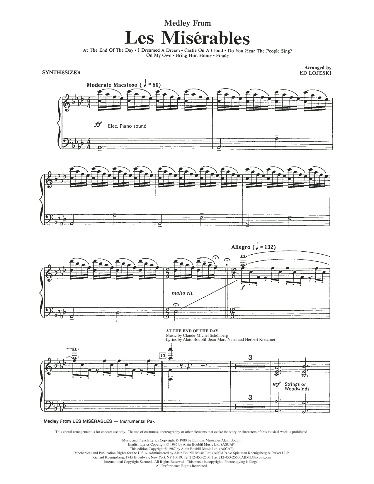 Boublil and Schonberg Les Miserables (Choral Medley) (arr. Ed Lojeski) - Synthesizer sheet music notes and chords. Download Printable PDF.
