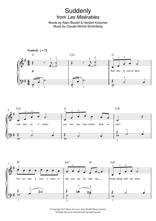 Boublil and Schonberg Suddenly (from Les Miserables The Movie) sheet music notes and chords - download printable PDF.