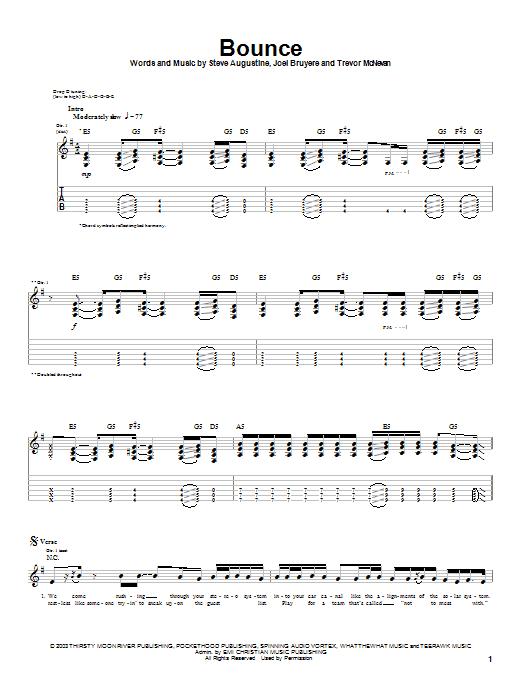 Thousand Foot Krutch Bounce sheet music notes printable PDF score