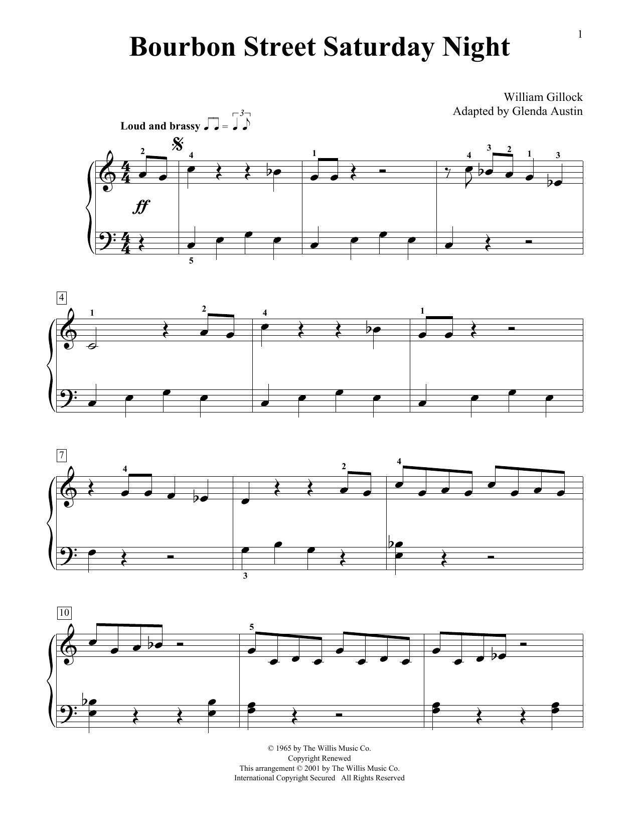 William Gillock Bourbon Street Saturday Night (Simplified) (adapted by Glenda Austin) sheet music notes printable PDF score