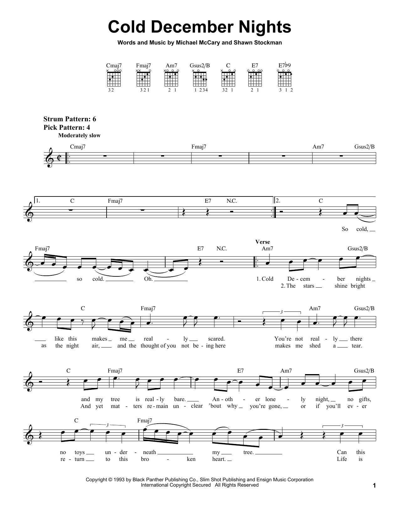 Boyz II Men Cold December Nights sheet music notes and chords - download printable PDF.