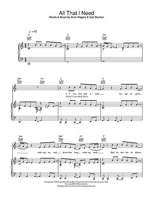 Boyzone All That I Need sheet music notes printable PDF score