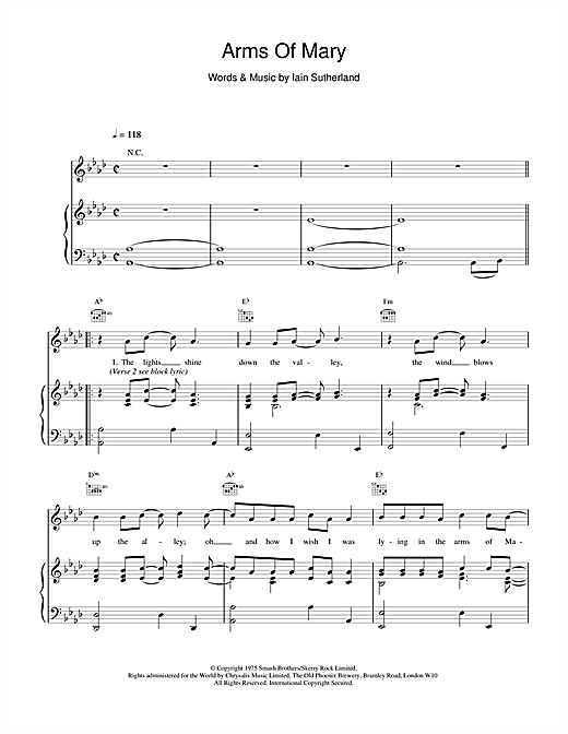 Boyzone Arms Of Mary sheet music notes printable PDF score