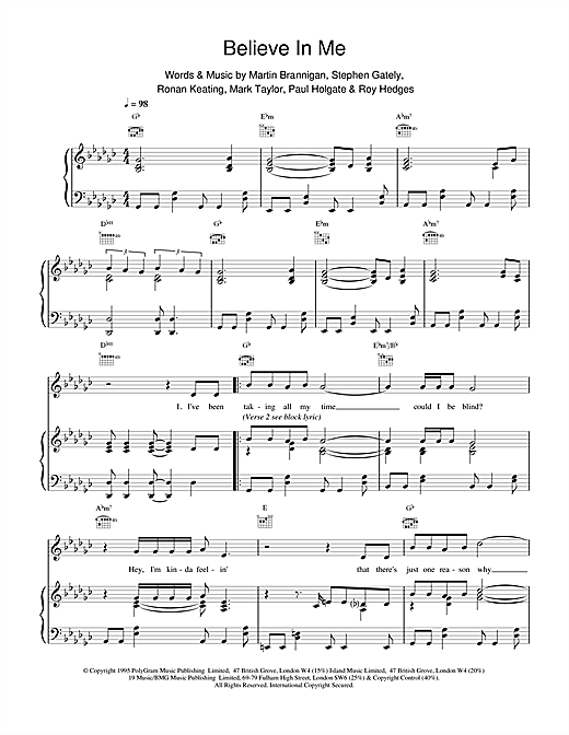 Boyzone Believe In Me sheet music notes printable PDF score