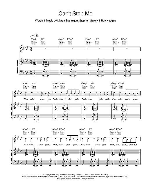 Boyzone Cant Stop Me sheet music notes printable PDF score