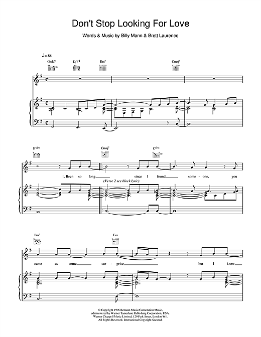Boyzone Don't Stop Looking For Love sheet music notes printable PDF score