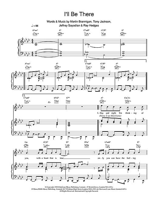 Boyzone I'll Be There sheet music notes printable PDF score