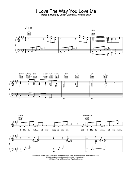 Boyzone I Love The Way You Love Me sheet music notes printable PDF score