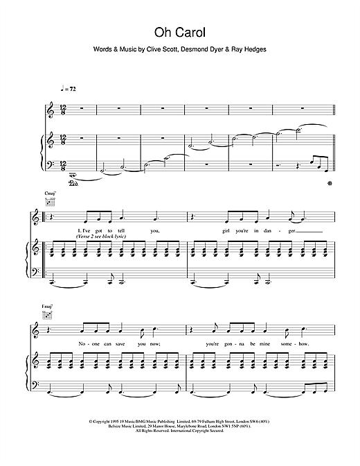 Boyzone Oh Carol sheet music notes printable PDF score