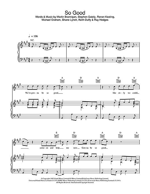Boyzone So Good sheet music notes printable PDF score