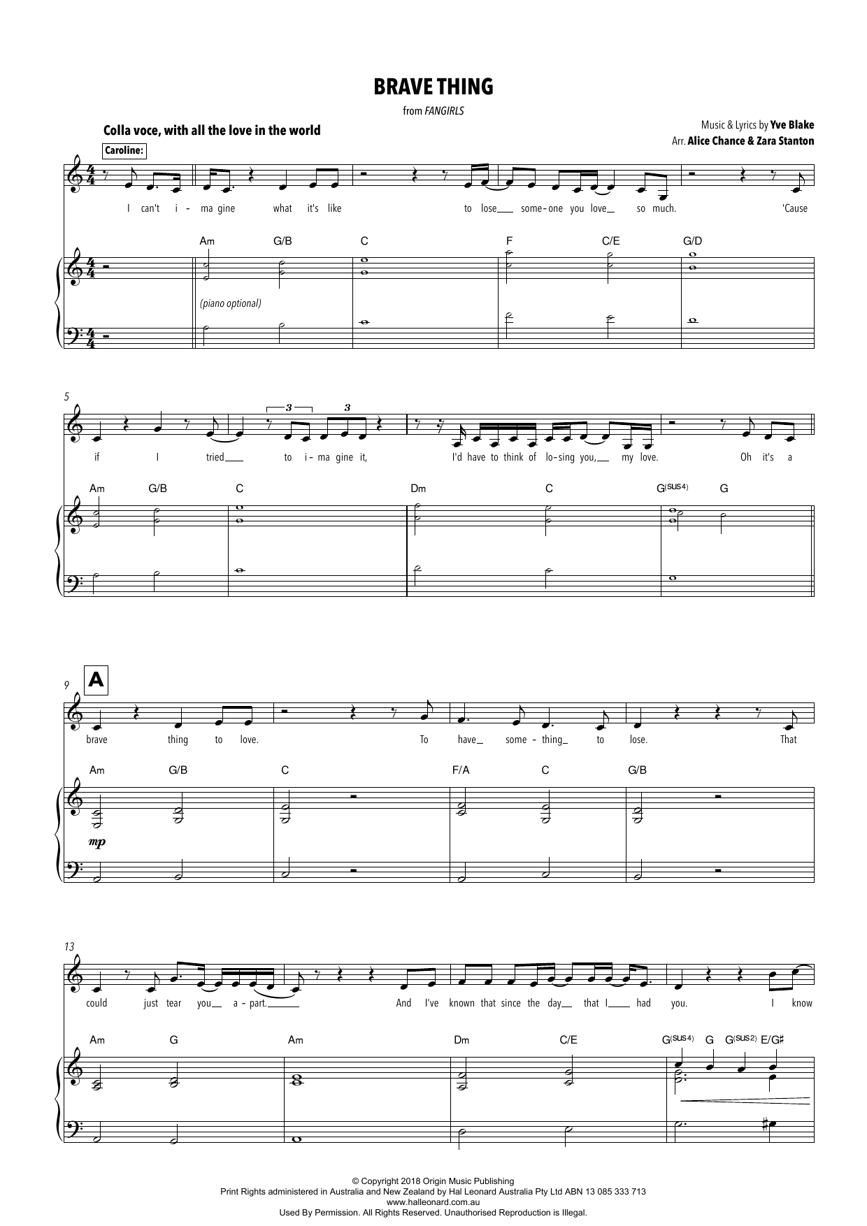 Yve Blake Brave Thing (from Fangirls) (arr. Alice Chance and Zara Stanton) sheet music notes printable PDF score