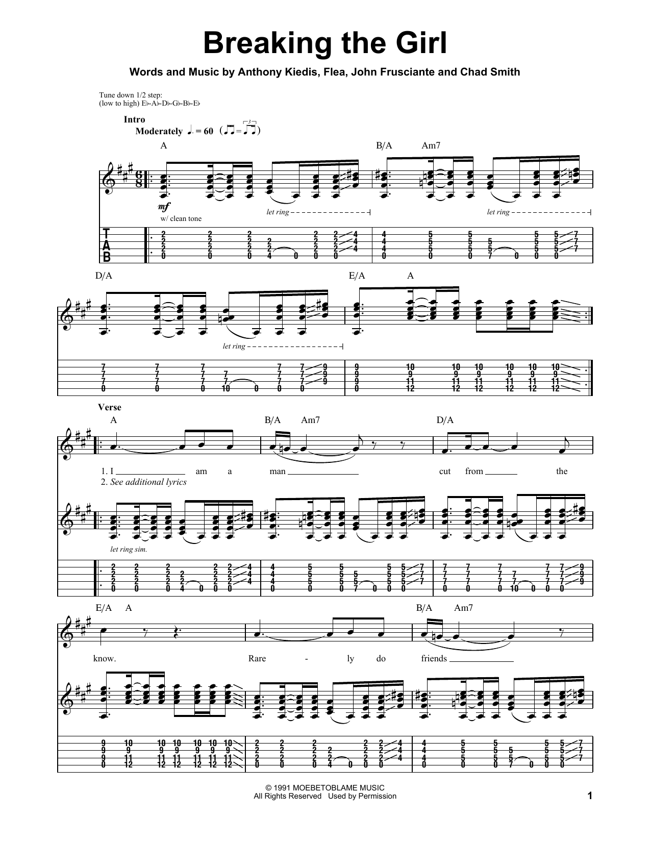 Red Hot Chili Peppers Breaking The Girl sheet music notes printable PDF score