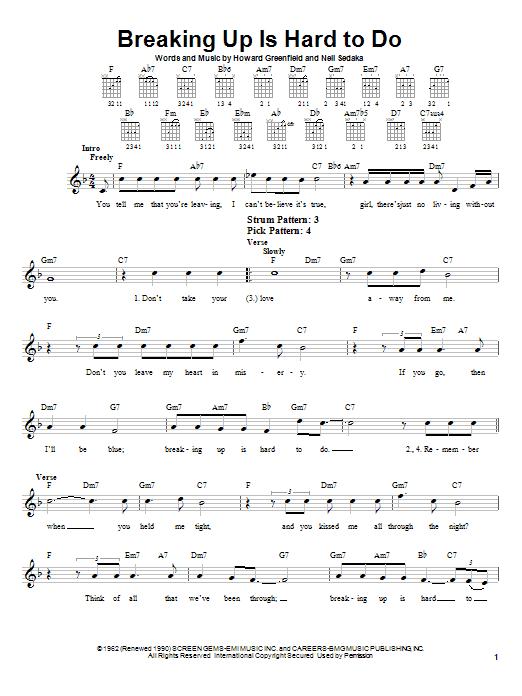 Neil Sedaka Breaking Up Is Hard To Do sheet music notes printable PDF score