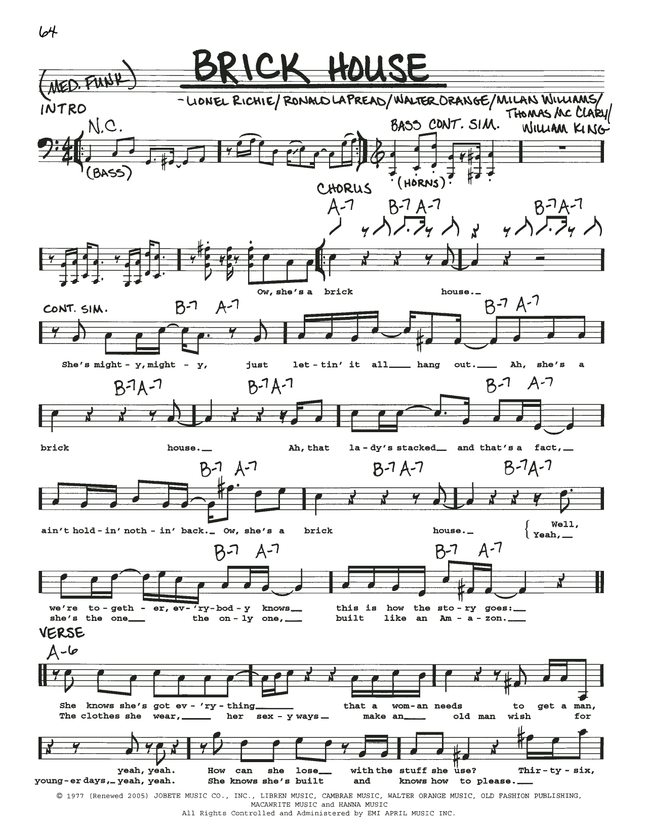 Commodores Brick House sheet music notes printable PDF score