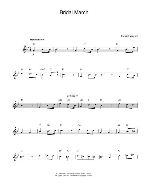 Richard Wagner Bridal March sheet music notes printable PDF score