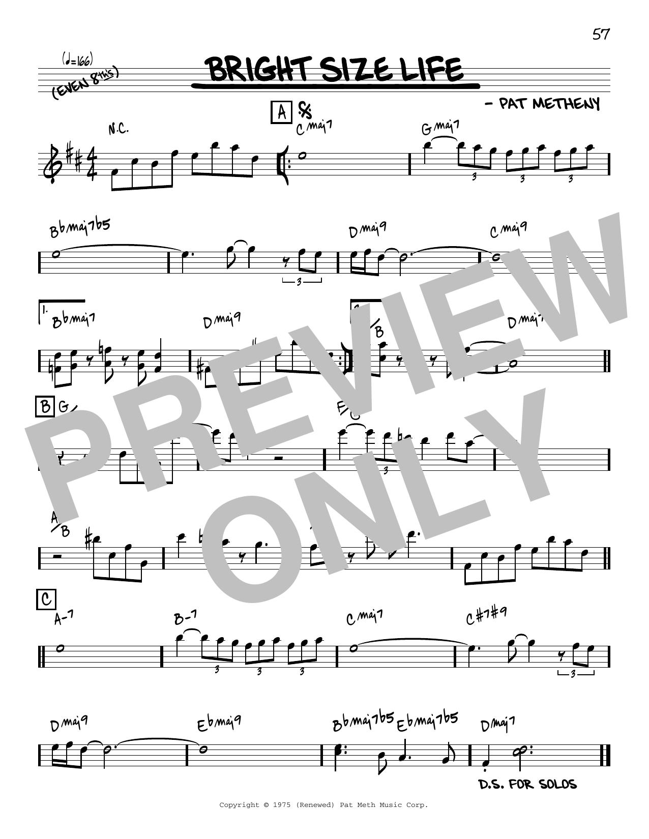 Pat Metheny Bright Size Life [Reharmonized version] (arr. Jack Grassel) sheet music notes printable PDF score
