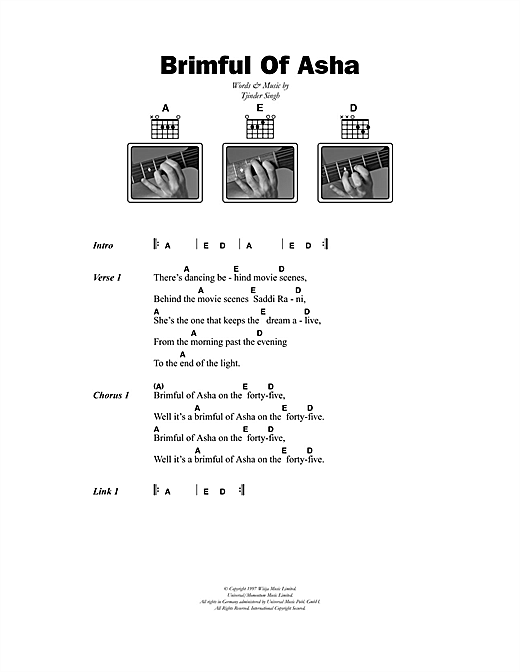 Cornershop Brimful Of Asha sheet music notes printable PDF score