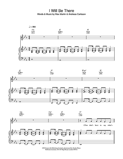 Britney Spears I Will Be There sheet music notes printable PDF score