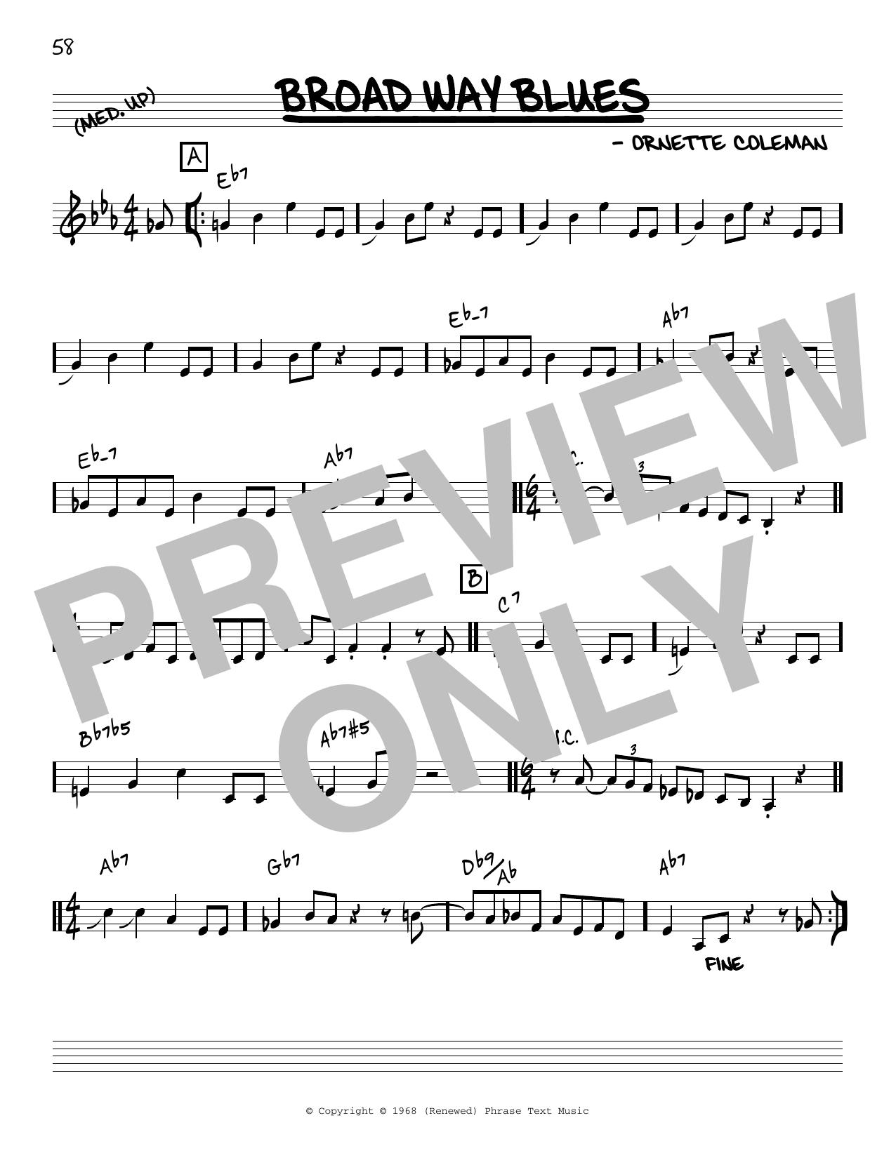 Ornette Coleman Broad Way Blues [Reharmonized version] (arr. Jack Grassel) sheet music notes printable PDF score
