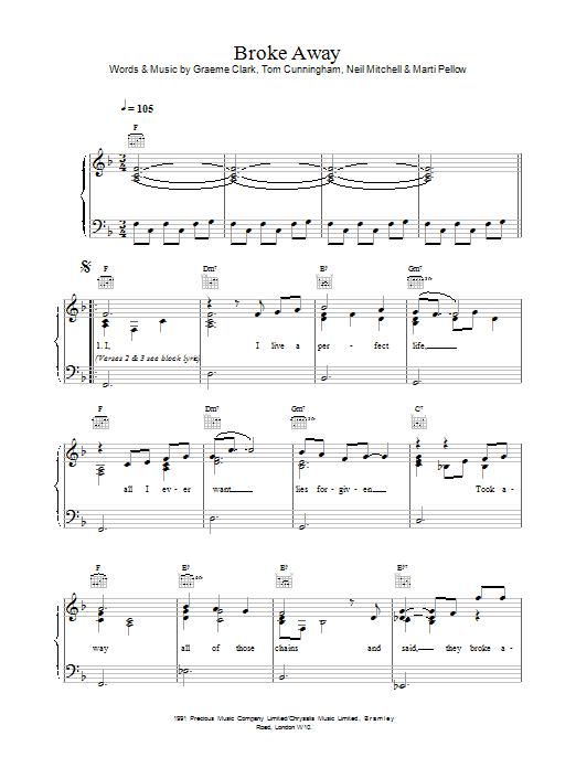 Wet Wet Wet Broke Away sheet music notes printable PDF score