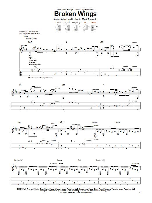 Alter Bridge Broken Wings sheet music notes printable PDF score
