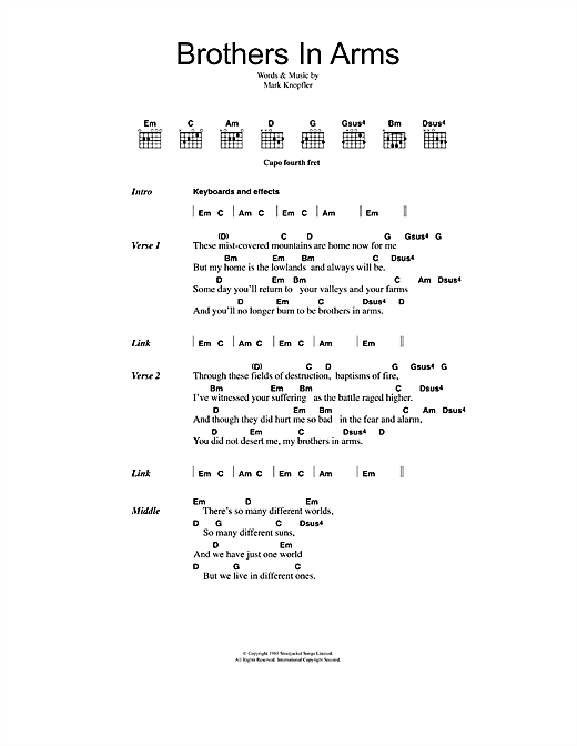 Dire Straits Brothers In Arms sheet music notes printable PDF score