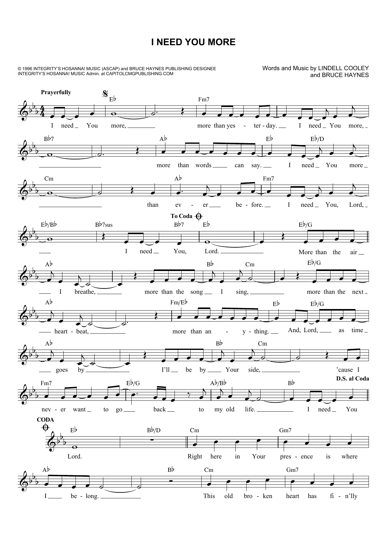 Bruce Haynes I Need You More sheet music notes and chords. Download Printable PDF.