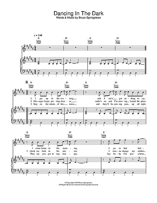 Bruce Springsteen Dancing In The Dark sheet music notes printable PDF score