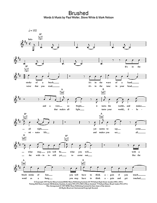 Paul Weller Brushed sheet music notes printable PDF score