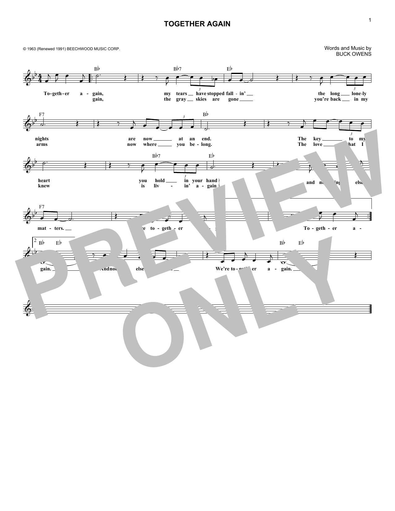 Buck Owens Together Again sheet music notes and chords. Download Printable PDF.