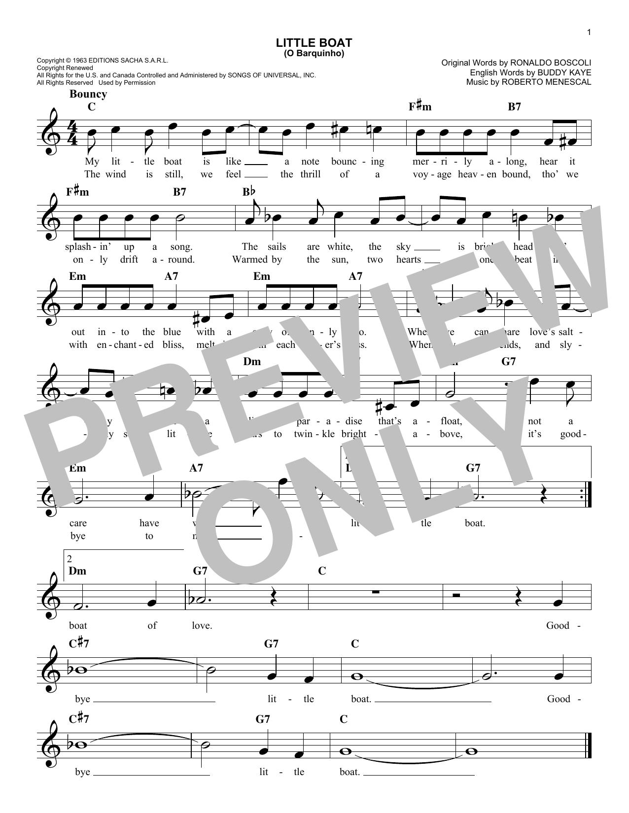 Buddy Kaye Little Boat (O Barquinho) sheet music notes printable PDF score