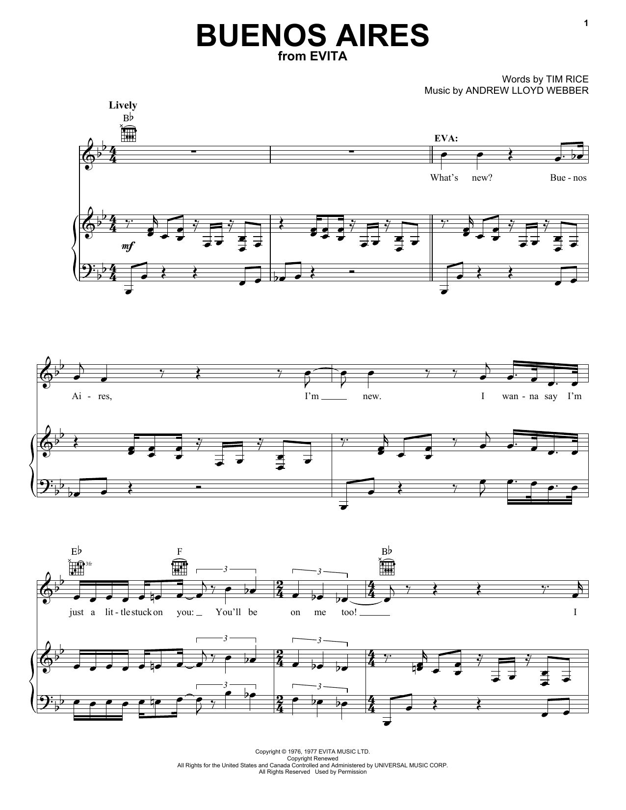 Andrew Lloyd Webber Buenos Aires (from Evita) sheet music notes printable PDF score