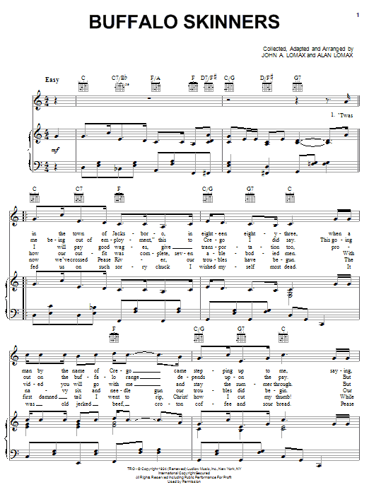 John A. Lomax Buffalo Skinners sheet music notes printable PDF score