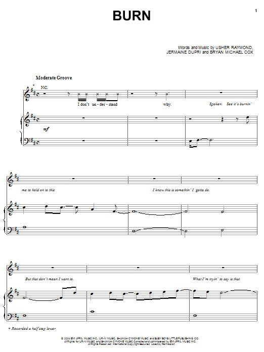 Usher Burn sheet music notes printable PDF score